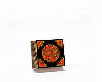 Шкатулка-книга на магните с 1 отделением Петриківські мотиви на чорному
