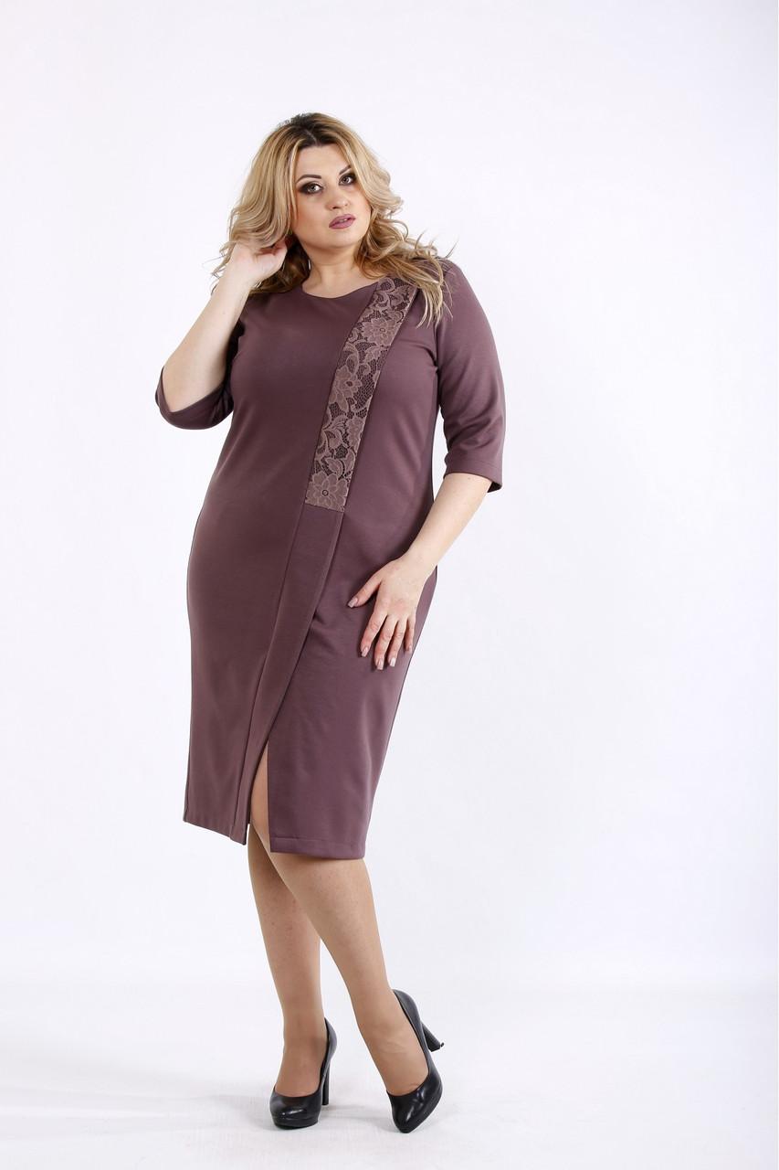 3c42011ebfd2f0d Женское трикотажное платье с вырезом бисквитного цвета 01080 / размер 42-74  / большие размеры