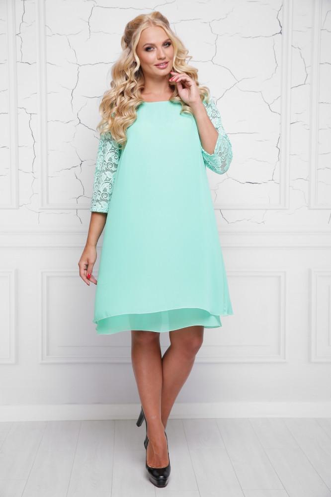 0e1c09a7db4 Женское шифоновое платье свободного кроя Альба   размер 48-58   цвет мята