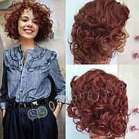 🧡Женский парик из натуральных волос, ярко медный 🧡