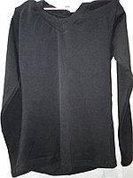 Топ футболка Фокс (длин.рукав+мыс) 36р. хлопок-92% лайкра 8% черный