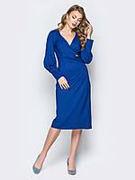56cefc9c72882e8 Длинное платье с запахом и рукавами воланом Modniy Oazis синий 90340