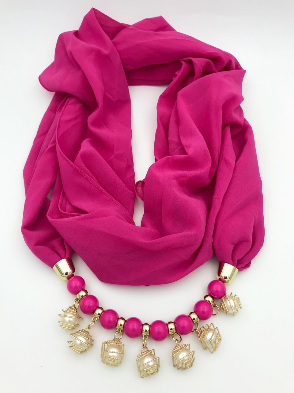 Шарф-платок женский Runmeifa SW205 с декоративными украшениями малиновый