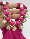 Шарф-платок женский Runmeifa SW205 с декоративными украшениями малиновый, фото 2