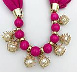Шарф-платок женский Runmeifa SW205 с декоративными украшениями малиновый, фото 3
