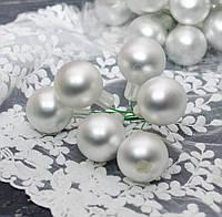 Новогодние стеклянные шарики 3 см на проволоке 6 шт