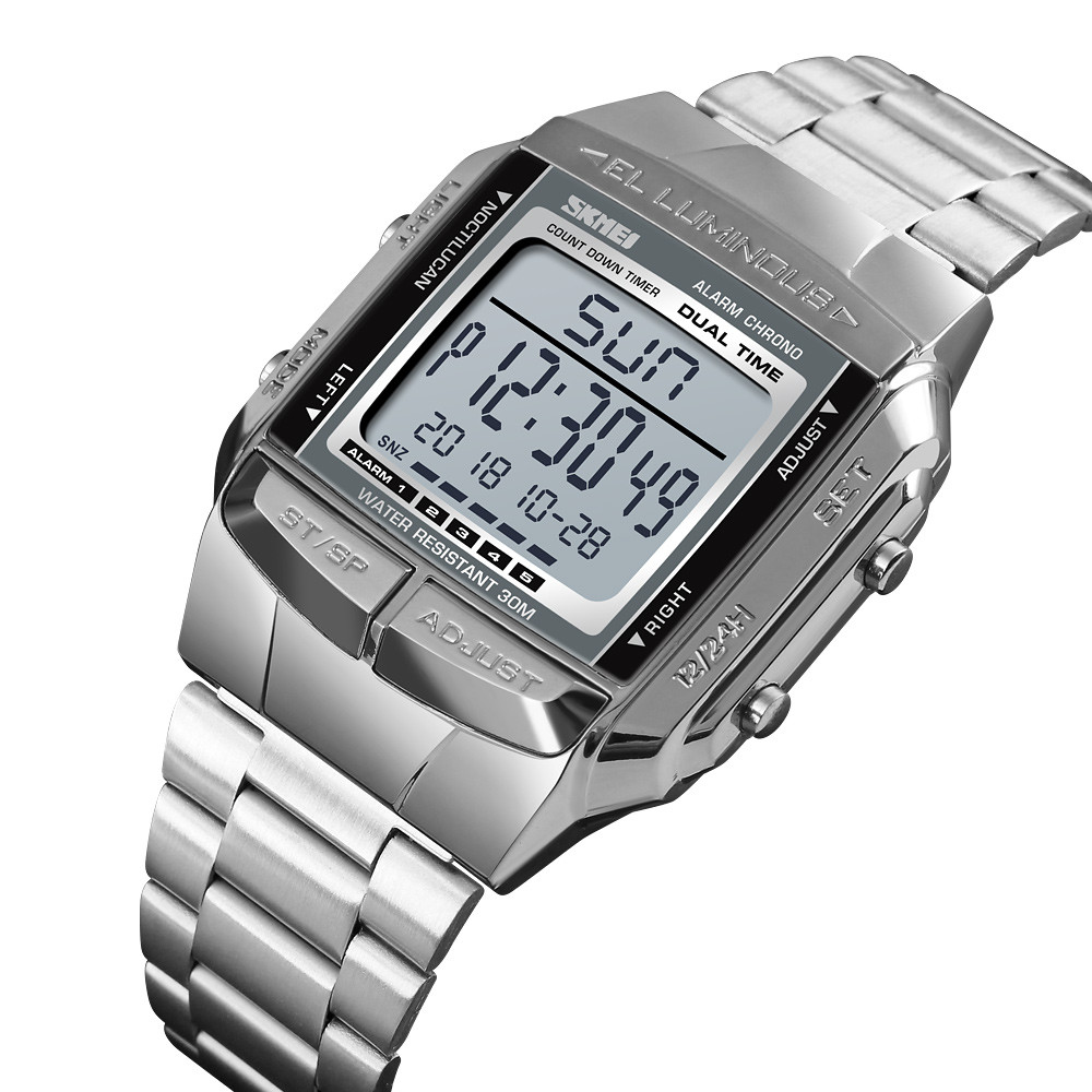 Skmei 1381 illuminator серебристые мужские спортивные часы