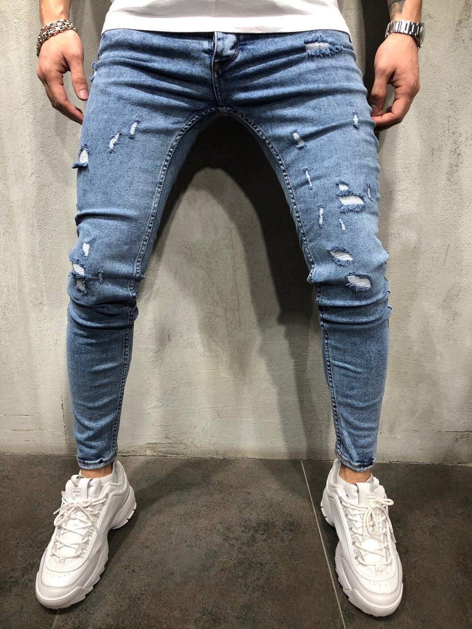 175837f29cb Мужские светлые джинсы с потертостями синие (зауженные)  продажа ...