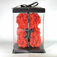 Подарочный 3D Мишка из красных роз 23 см
