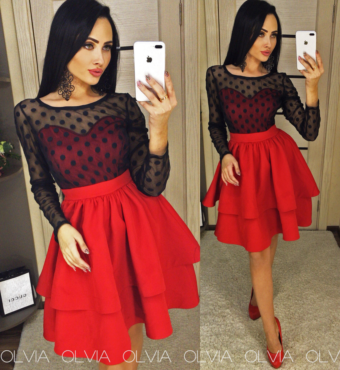 Красное платье с сеткой