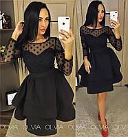 Черное платье с сеткой сверху