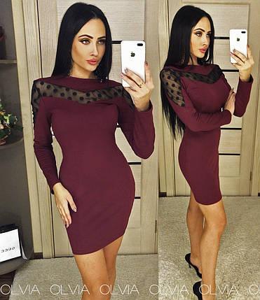 Бордовое платье футляр, фото 2