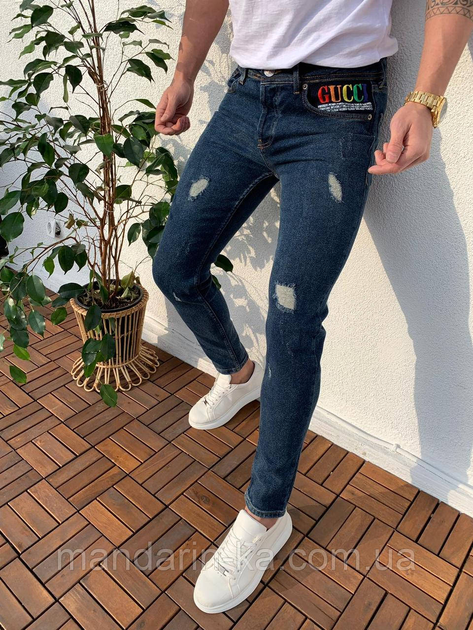 Джинсы мужские рваные синие брендовые реплика
