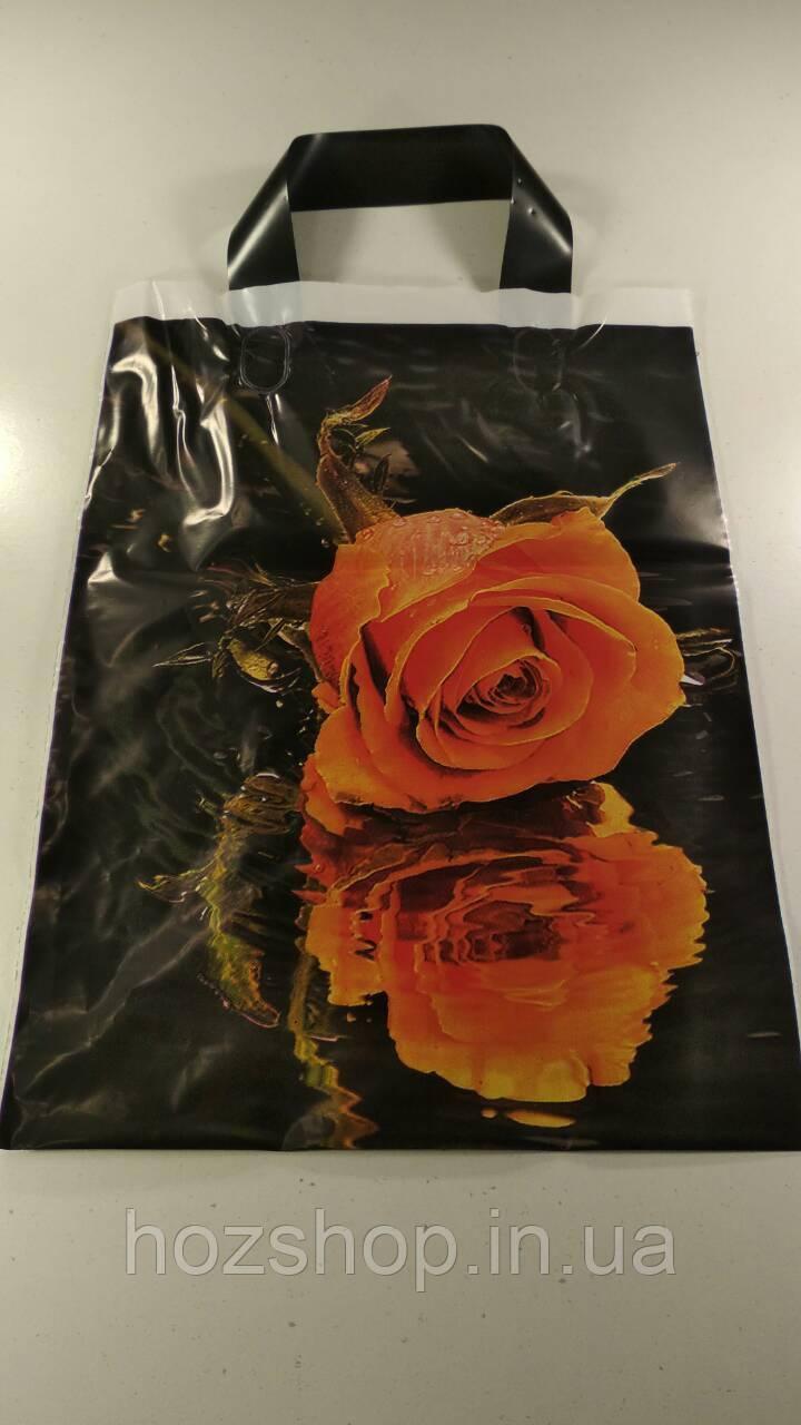 """Пакет с петлевой ручкой (25*35)""""Роза """" (25 шт)"""