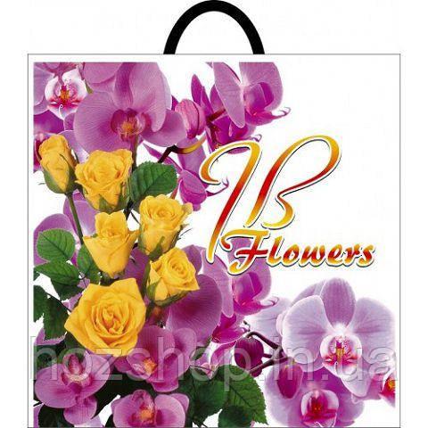 """Пакет с петлевой ручкой  д """" Роза орхидея"""" (40*44) (50 шт)"""