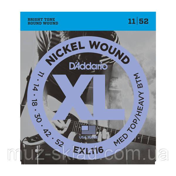Струны для электрогитары D`ADDARIO EXL116 XL MEDIUM TOP / HEAVY BOTTOM (11-52)