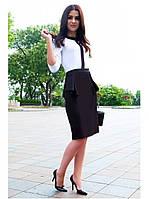 Женское офисное платье с баской