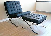 Кресло Барселона черное с пуфом-оттоманкой, дизайн Mies van der Rohe с бесплатной доставкой Деливери