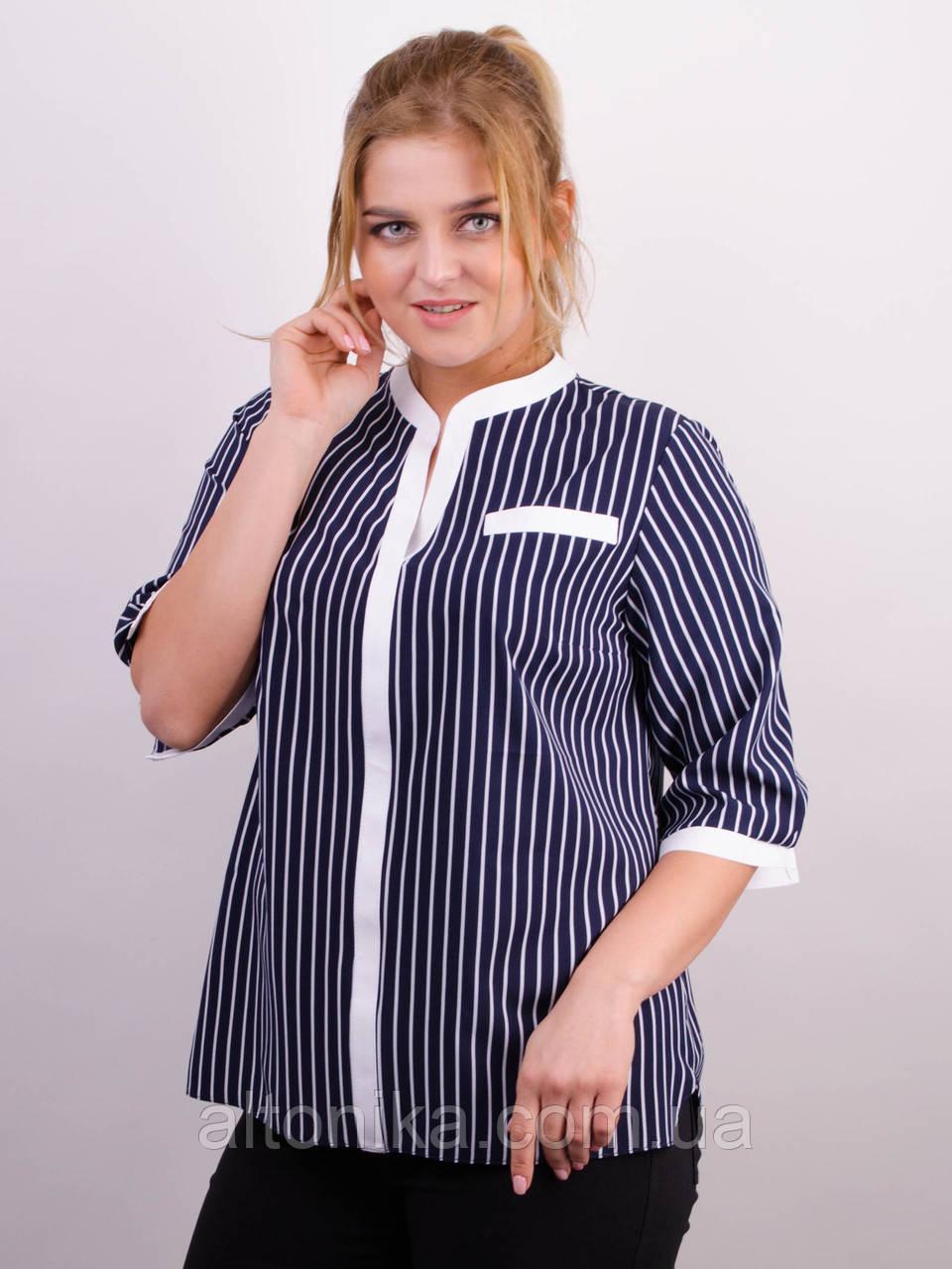 Аврора. Комбинированная блуза больших размеров.  58-60, 62-64