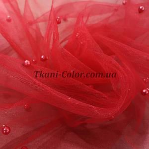 Ткань сетка с бусинами красная