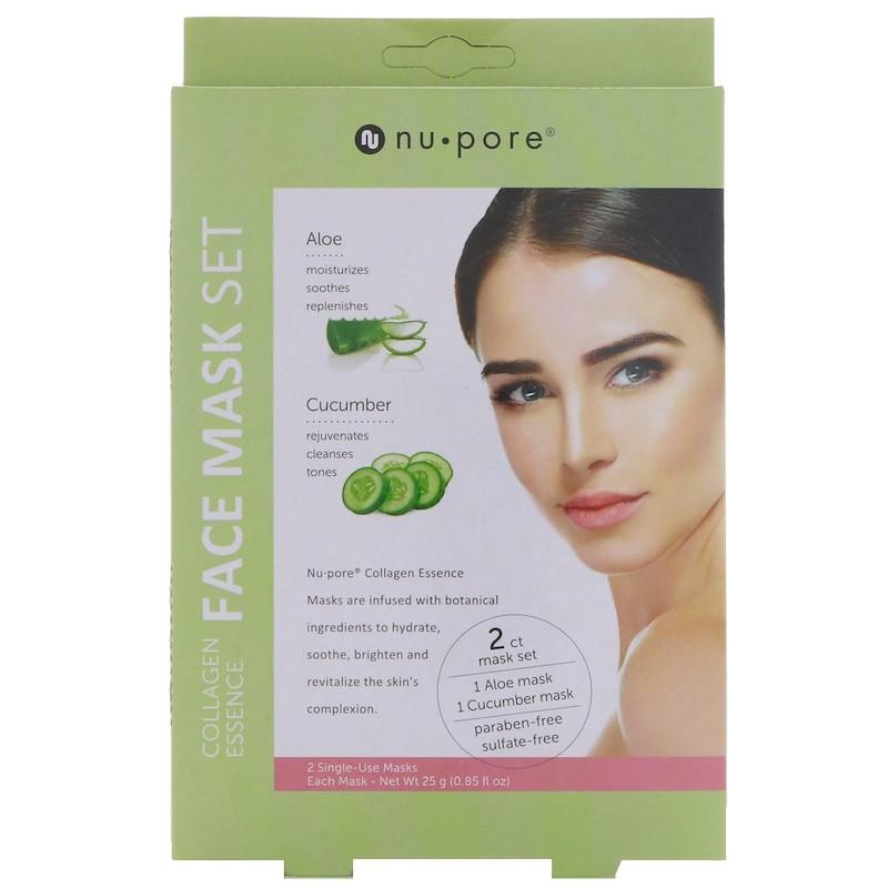 """Набор коллагеновых масок для лица Nu-Pore """"Collagen Essence Face Mask Set"""" алоэ и огурец (2 маски)"""