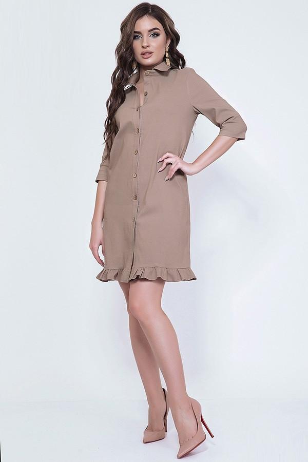 Стильное платье–рубашка бенгалин 43979 (42–46р) в расцветках