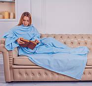 Плед с рукавами флисовый (голубой), фото 3