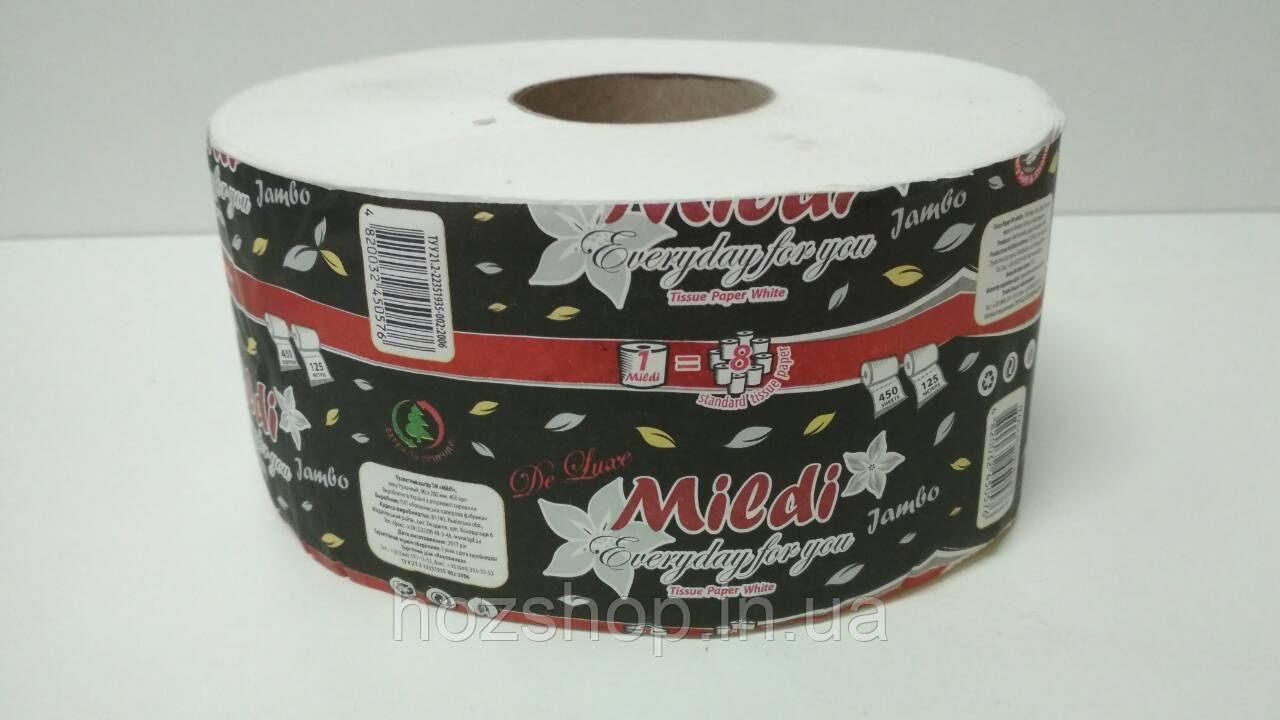 """Туалетная бумага на втулке Джамбо """"Mildi"""" 90*195/60 (2 слоя) De Luxe (8 рул)"""