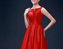 Жіночу червону атласну сукню., фото 3