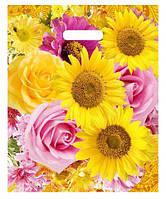"""Пакет с прорезной ручкой (30*37+3) Цветы """"Подсолнух"""" Леоми (50 шт)"""