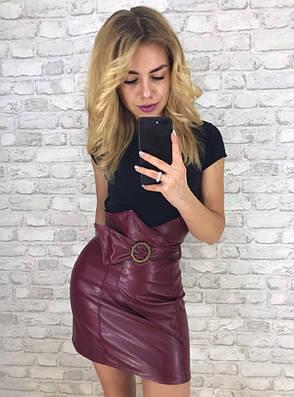 Женская кожаная юбка с завышенной талией , фото 2