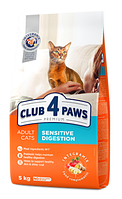 Корм Клуб 4 Лапы Премиум для взрослых кошек с чувствительным пищеварением Sensitive  на развес 1 кг