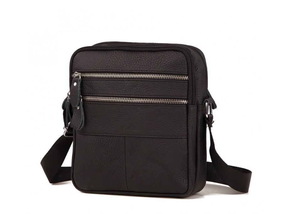Мужская сумка (мессенджер) из натуральной кожи черного цвета.ТОП КАЧЕСТВО !!!