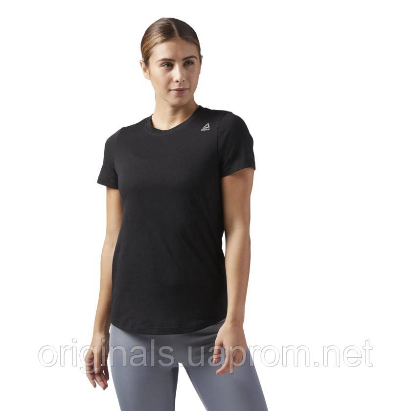 Черная женская футболка Reebok TE TEE CF8587