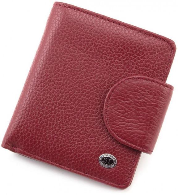 Вертикальный компактный женский кошелек из натуральной кожи бордового цвета ST415 ST Leather Accesso