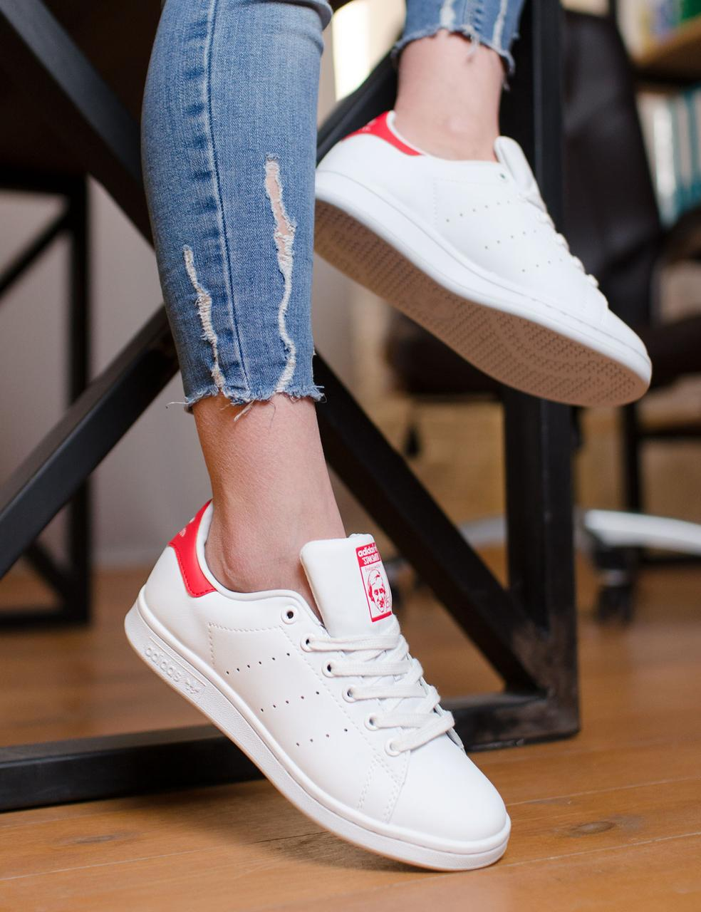 b865f05728e8 Женские кроссовки Adidas STAN SMITH White/Red (адидас стэн смит белые,  красный задник