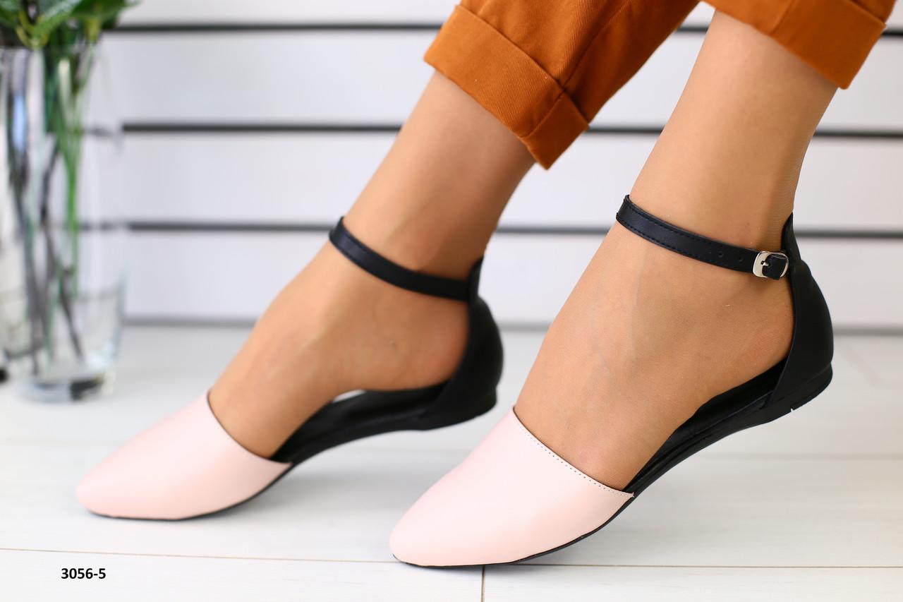 1bcc924f9612 Балетки кожаные черные с носком цвета пудры: продажа, цена в Чернигове.  босоножки ...