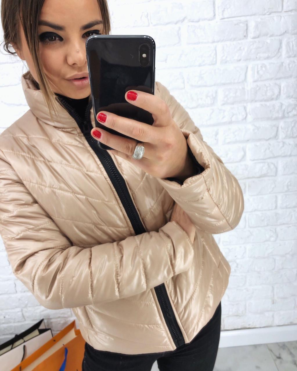 Плащевая стеганная женская куртка на молнии короткая 3kr192