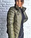 Плащевая стеганная женская куртка на молнии короткая 3kr192, фото 2