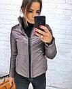 Плащевая стеганная женская куртка на молнии короткая 3kr192, фото 3