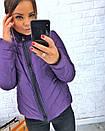 Плащевая стеганная женская куртка на молнии короткая 3kr192, фото 5