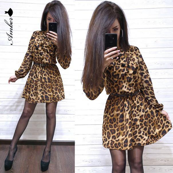 Леопардовое платье с поясом на талии