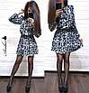 Леопардовое платье с поясом на талии, фото 2