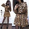 Леопардовое платье с поясом на талии, фото 3
