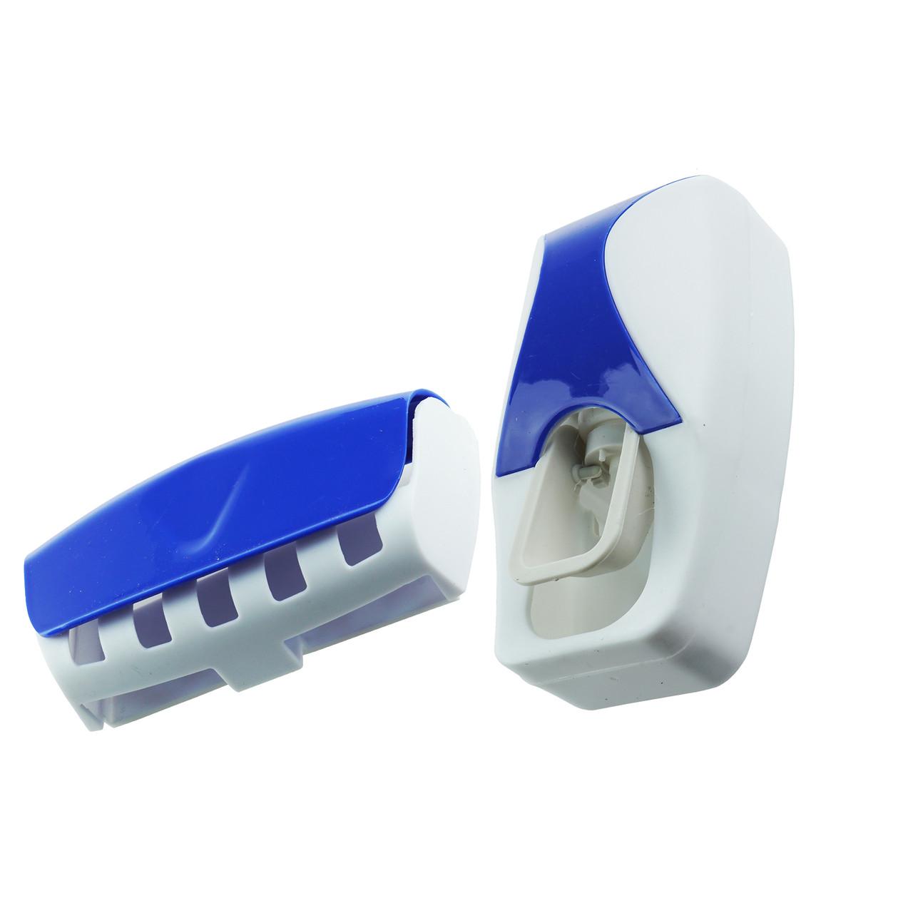 Дозатор для зубной пасты с держателем для щеток (синий)