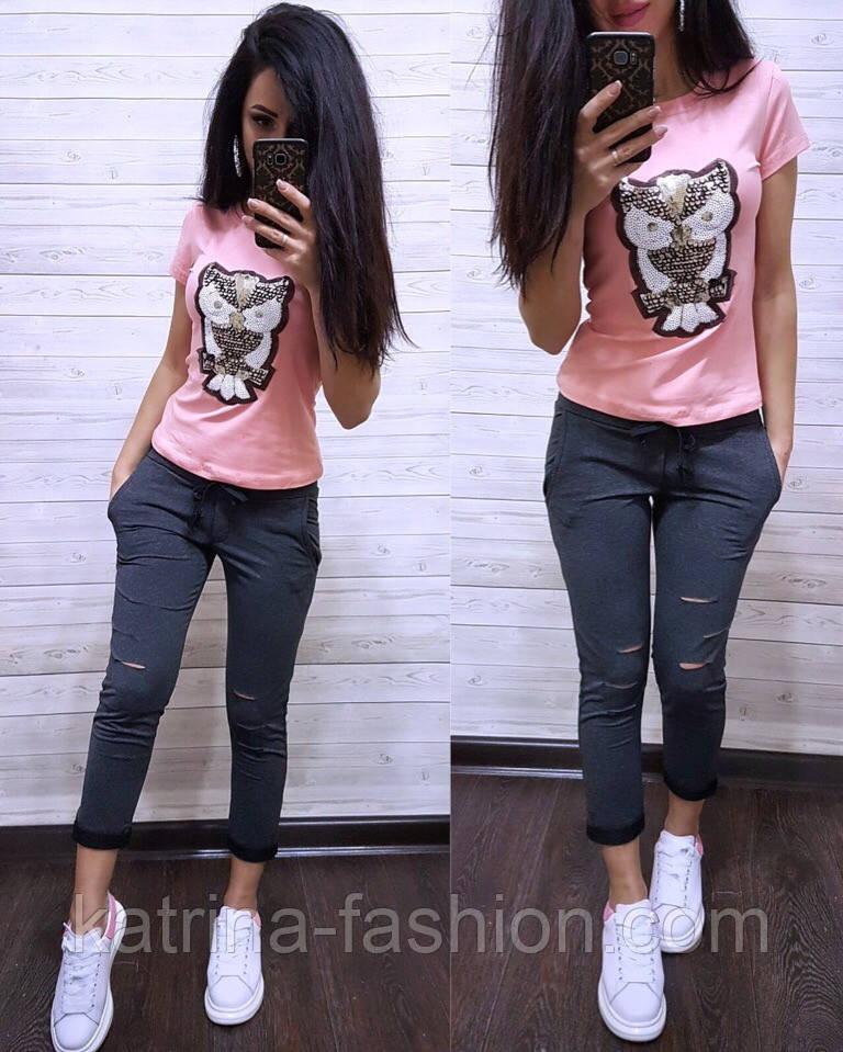 Женский стильный костюм: футболка и капри в расцветках (расцветки)