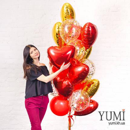 Связка из воздушных шаров сердец в золотом и красном цветах, фото 2