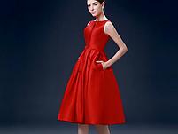 Жіночу червону атласну сукню., фото 4