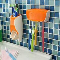 Дозатор для зубной пасты с держателем для щеток (оранжевый)