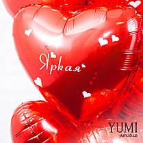 Фонтан из красных фольгированных шариков сердечек с комплиментами для девушки, фото 3